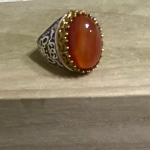 3/25 Size 9.5 Orange Amber Statement Ring Unisex